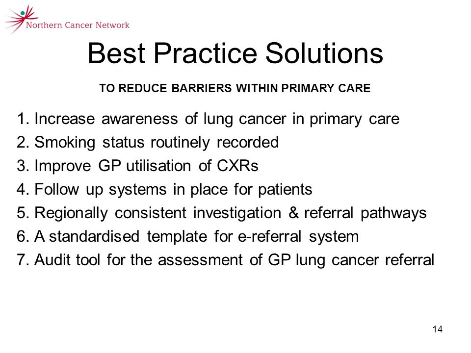 14 Best Practice Solutions TO REDUCE BARRIERS WITHIN PRIMARY CARE 1.Increase awareness of lung cancer in primary care 2.Smoking status routinely recorded 3.Improve GP utilisation of CXRs 4.Follow up systems in place for patients 5.Regionally consistent investigation & referral pathways 6.A standardised template for e-referral system 7.Audit tool for the assessment of GP lung cancer referral