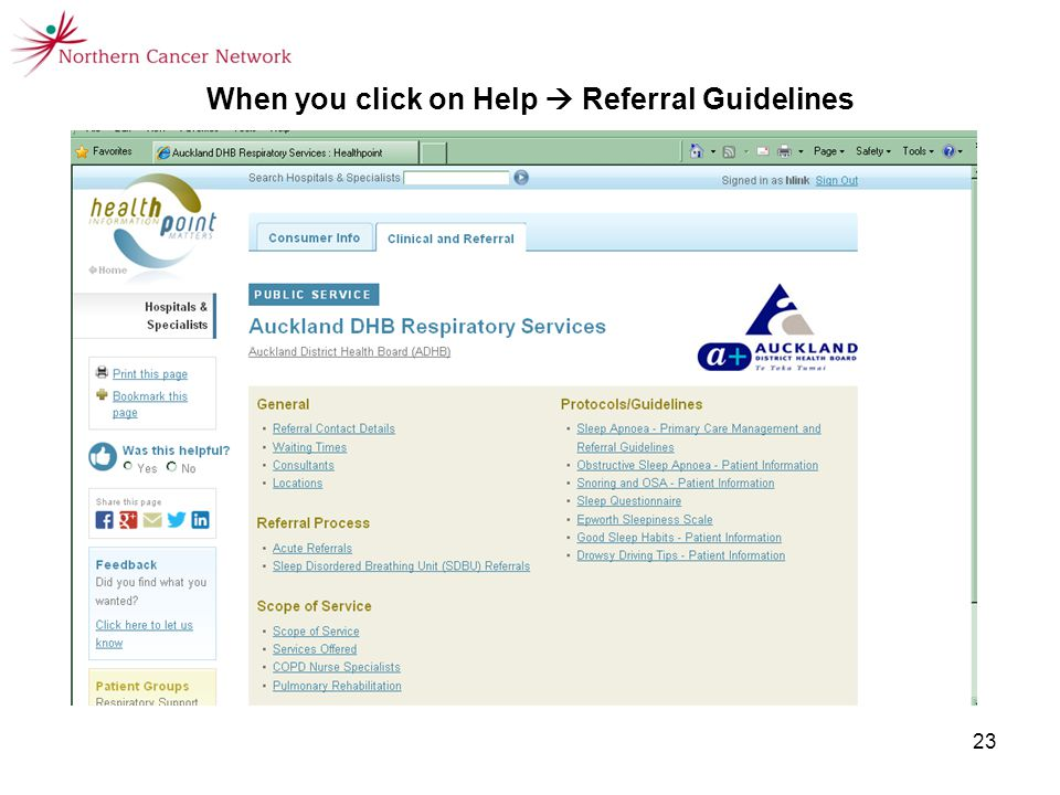23 When you click on Help  Referral Guidelines