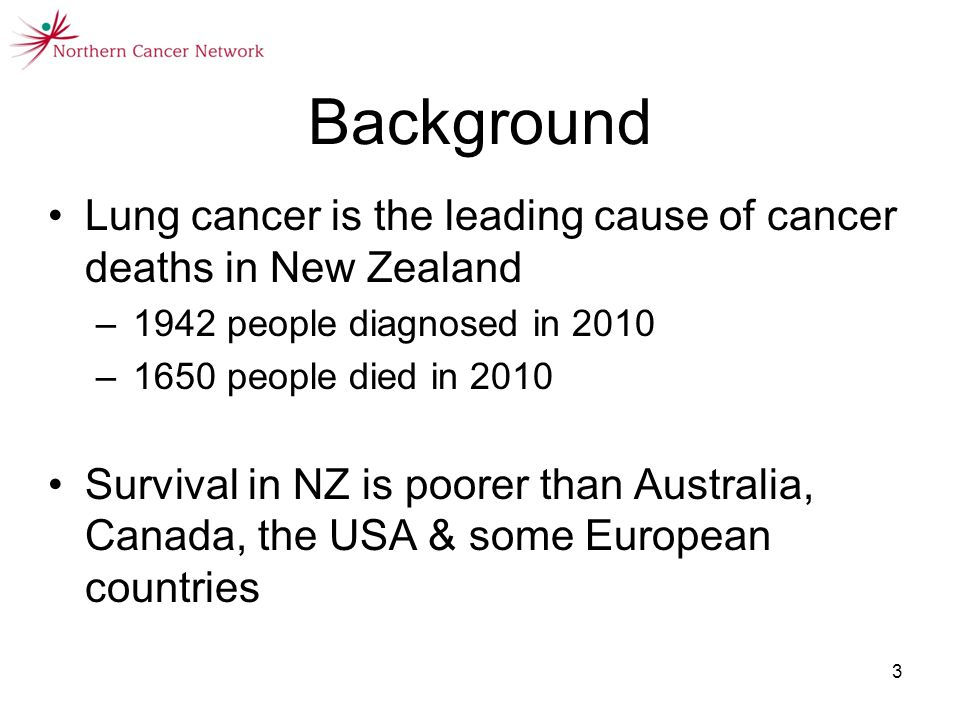 6 September 20133 Background Lung cancer is the leading cause of cancer deaths in New Zealand –1942 people diagnosed in 2010 –1650 people died in 2010 Survival in NZ is poorer than Australia, Canada, the USA & some European countries