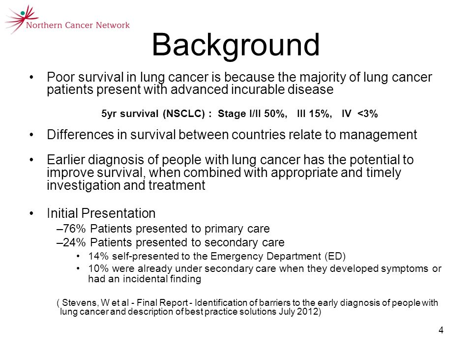 4 Background Poor survival in lung cancer is because the majority of lung cancer patients present with advanced incurable disease 5yr survival (NSCLC) : Stage I/II 50%, III 15%, IV <3% Differences in survival between countries relate to management Earlier diagnosis of people with lung cancer has the potential to improve survival, when combined with appropriate and timely investigation and treatment Initial Presentation –76% Patients presented to primary care –24% Patients presented to secondary care 14% self-presented to the Emergency Department (ED) 10% were already under secondary care when they developed symptoms or had an incidental finding ( Stevens, W et al - Final Report - Identification of barriers to the early diagnosis of people with lung cancer and description of best practice solutions July 2012)