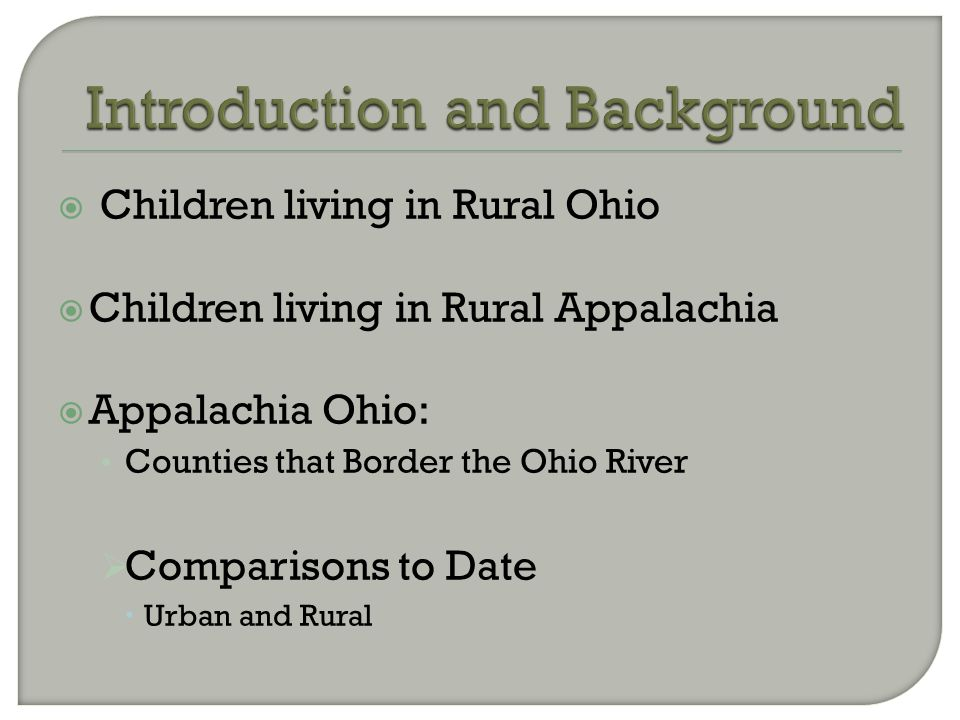  Children living in Rural Ohio  Children living in Rural Appalachia  Appalachia Ohio: Counties that Border the Ohio River  Comparisons to Date  U