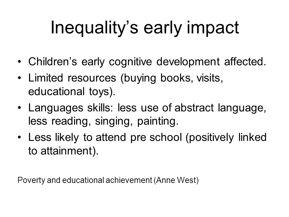 Inequality's early impact Children's early cognitive development affected.
