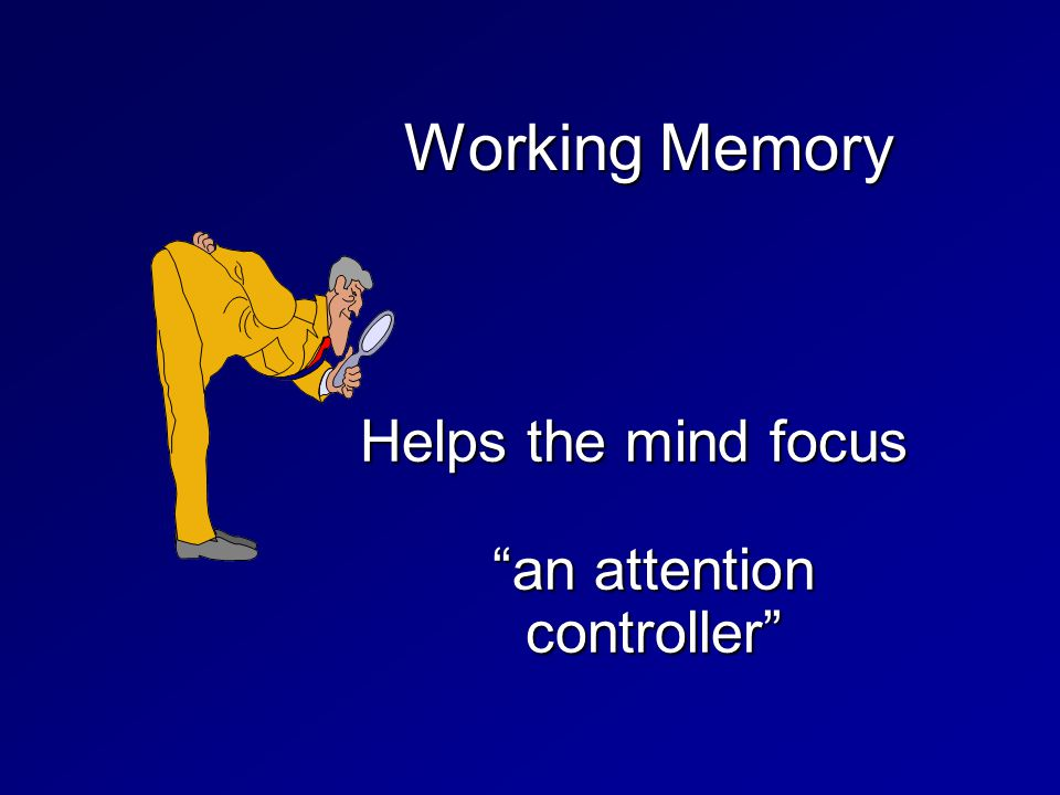 "Working Memory Helps the mind focus ""an attention controller"""