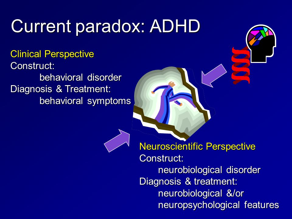 Current paradox: ADHD Clinical Perspective Construct: behavioral disorder Diagnosis & Treatment: behavioral symptoms Neuroscientific Perspective Construct: neurobiological disorder neurobiological disorder Diagnosis & treatment: neurobiological &/or neuropsychological features neurobiological &/or neuropsychological features