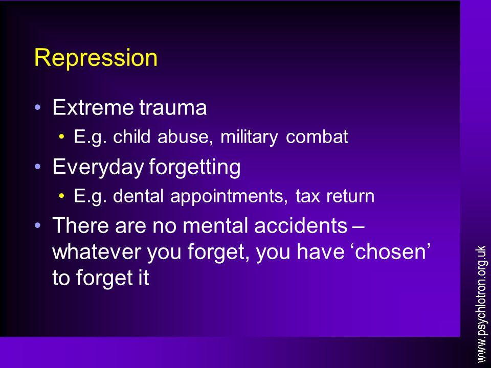 Repression Extreme trauma E.g. child abuse, military combat Everyday forgetting E.g.