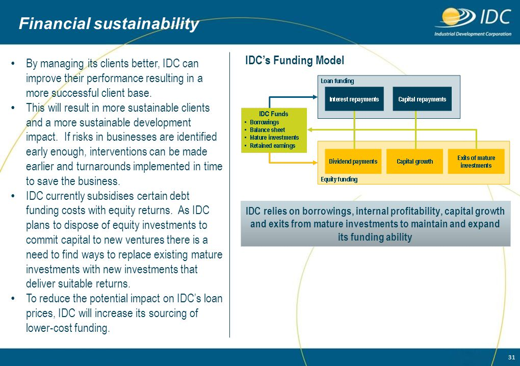 31 Financial sustainability By managing its clients better, IDC can improve their performance resulting in a more successful client base. This will re