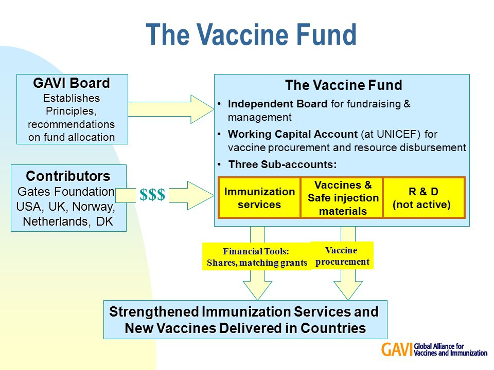 Strengthened Immunization Services and New Vaccines Delivered in Countries Vaccine procurement The Vaccine Fund Independent Board for fundraising & management Working Capital Account (at UNICEF) for vaccine procurement and resource disbursement Three Sub-accounts: Financial Tools: Shares, matching grants Vaccines & Safe injection materials Immunization services R & D (not active) GAVI Board Establishes Principles, recommendations on fund allocation Contributors Gates Foundation USA, UK, Norway, Netherlands, DK $$$ The Vaccine Fund