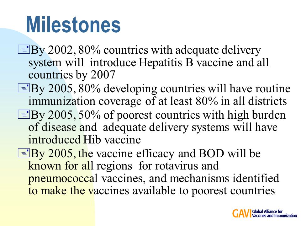 Milestones +By 2002, 80% countries with adequate delivery system will introduce Hepatitis B vaccine and all countries by By 2005, 80% developing countries will have routine immunization coverage of at least 80% in all districts +By 2005, 50% of poorest countries with high burden of disease and adequate delivery systems will have introduced Hib vaccine +By 2005, the vaccine efficacy and BOD will be known for all regions for rotavirus and pneumococcal vaccines, and mechanisms identified to make the vaccines available to poorest countries
