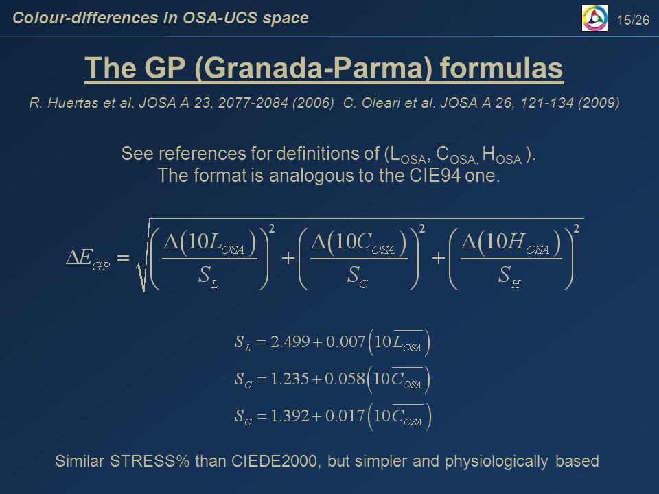 The GP (Granada-Parma) formulas R. Huertas et al.