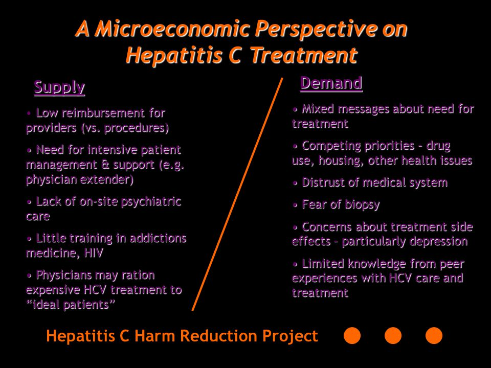 A Microeconomic Perspective on Hepatitis C Treatment Hepatitis C Harm Reduction ProjectDemandSupply Low reimbursement for providers (vs.