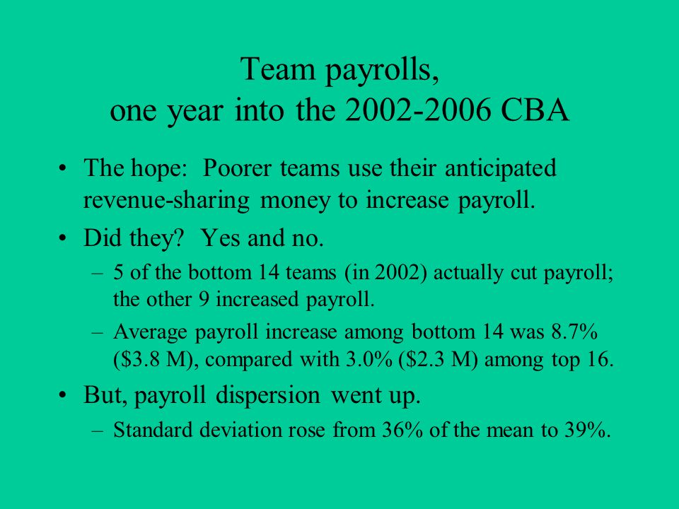 Team payrolls, one year into the 2002-2006 CBA The hope: Poorer teams use their anticipated revenue-sharing money to increase payroll.