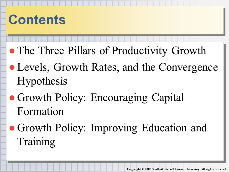 ●The Three Pillars of Productivity Growth ●Levels, Growth Rates, and the Convergence Hypothesis ●Growth Policy: Encouraging Capital Formation ●Growth