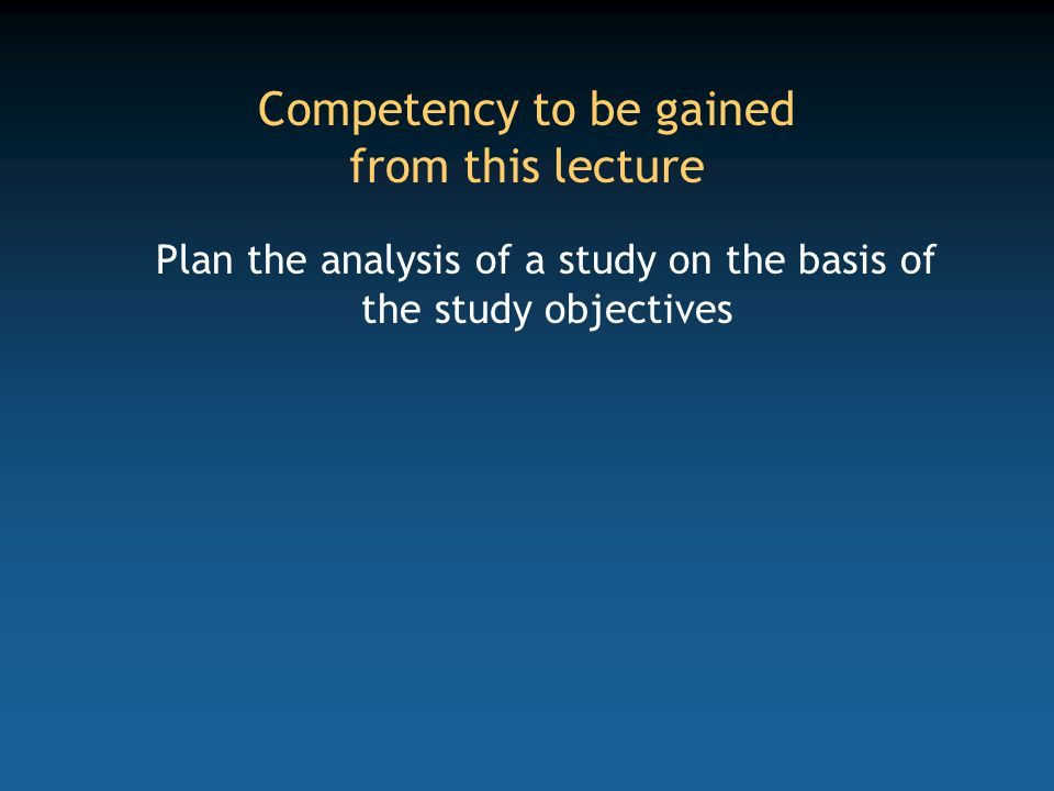 Key areas Objectives of the study Design and indicators Study parameters Analysis Sample size
