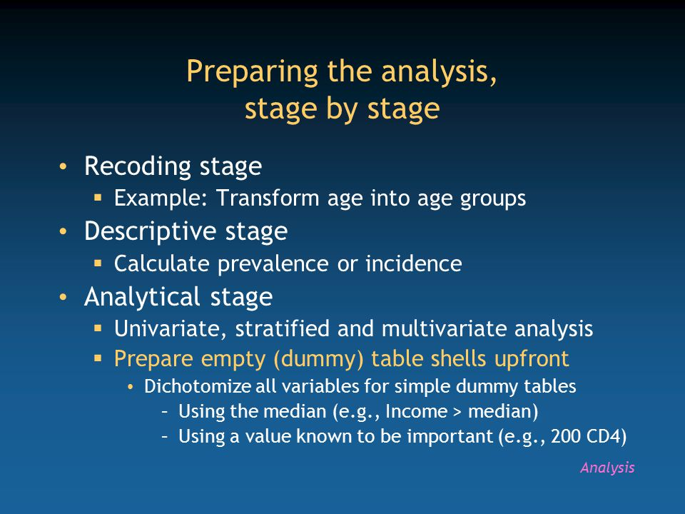Preparing the analysis, stage by stage Recoding stage  Example: Transform age into age groups Descriptive stage  Calculate prevalence or incidence Analytical stage  Univariate, stratified and multivariate analysis  Prepare empty (dummy) table shells upfront Dichotomize all variables for simple dummy tables –Using the median (e.g., Income > median) –Using a value known to be important (e.g., 200 CD4) Analysis