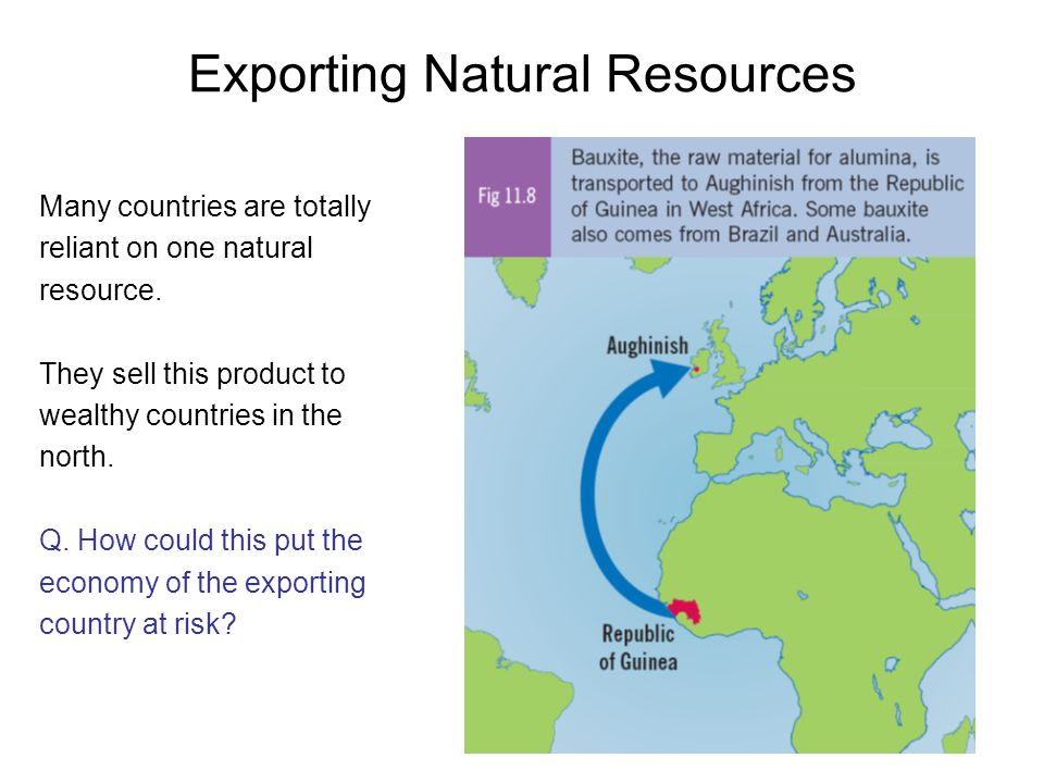 Exporting Natural Resources Many countries are totally reliant on one natural resource. They sell this product to wealthy countries in the north. Q. H