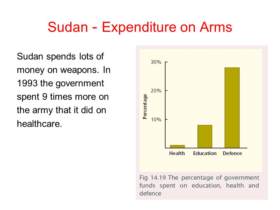 Sudan - Expenditure on Arms Sudan spends lots of money on weapons. In 1993 the government spent 9 times more on the army that it did on healthcare.