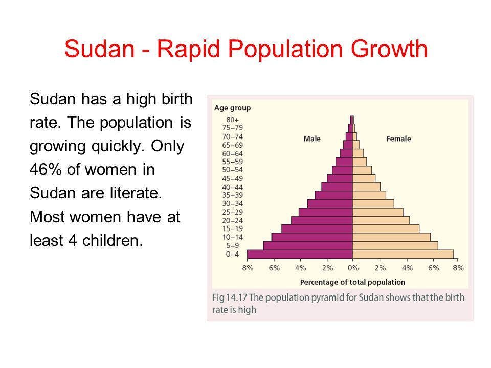 Sudan - Rapid Population Growth Sudan has a high birth rate. The population is growing quickly. Only 46% of women in Sudan are literate. Most women ha