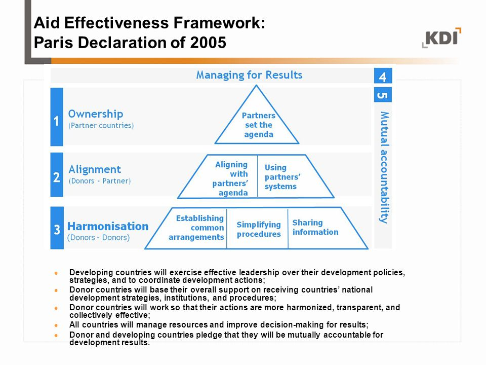 Aid Effectiveness Framework: Paris Declaration of 2005 Developing countries will exercise effective leadership over their development policies, strate