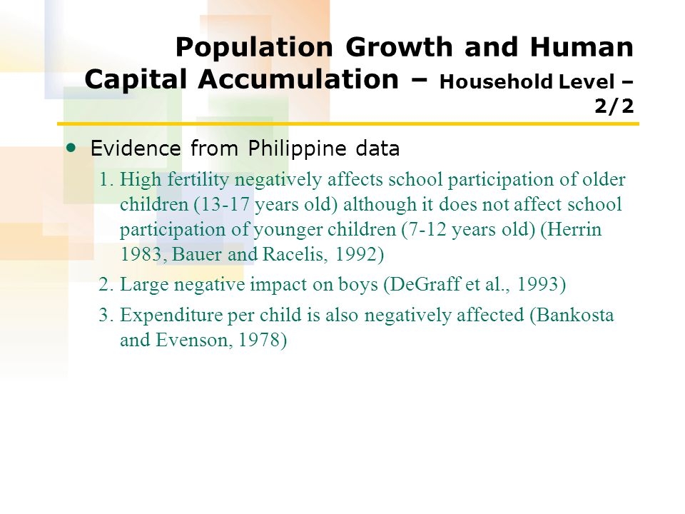 Population Growth and Human Capital Accumulation – Household Level – 2/2 Evidence from Philippine data 1.High fertility negatively affects school participation of older children (13-17 years old) although it does not affect school participation of younger children (7-12 years old) (Herrin 1983, Bauer and Racelis, 1992) 2.Large negative impact on boys (DeGraff et al., 1993) 3.Expenditure per child is also negatively affected (Bankosta and Evenson, 1978)