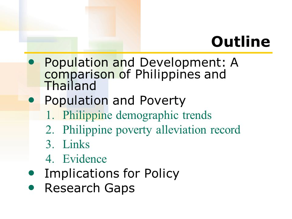 Outline Population and Development: A comparison of Philippines and Thailand Population and Poverty 1.Philippine demographic trends 2.Philippine poverty alleviation record 3.Links 4.Evidence Implications for Policy Research Gaps