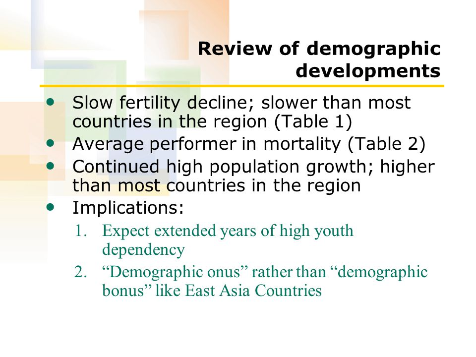 Review of demographic developments Slow fertility decline; slower than most countries in the region (Table 1) Average performer in mortality (Table 2) Continued high population growth; higher than most countries in the region Implications: 1.Expect extended years of high youth dependency 2. Demographic onus rather than demographic bonus like East Asia Countries