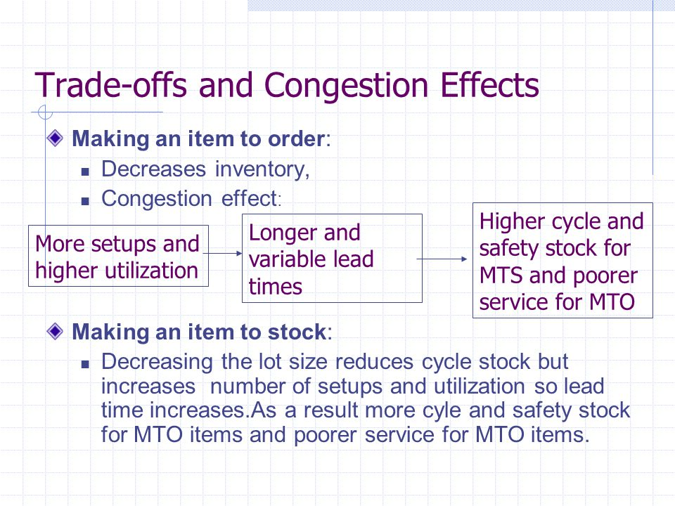 Trade-offs and Congestion Effects Making an item to order: Decreases inventory, Congestion effect : Making an item to stock: Decreasing the lot size reduces cycle stock but increases number of setups and utilization so lead time increases.As a result more cyle and safety stock for MTO items and poorer service for MTO items.