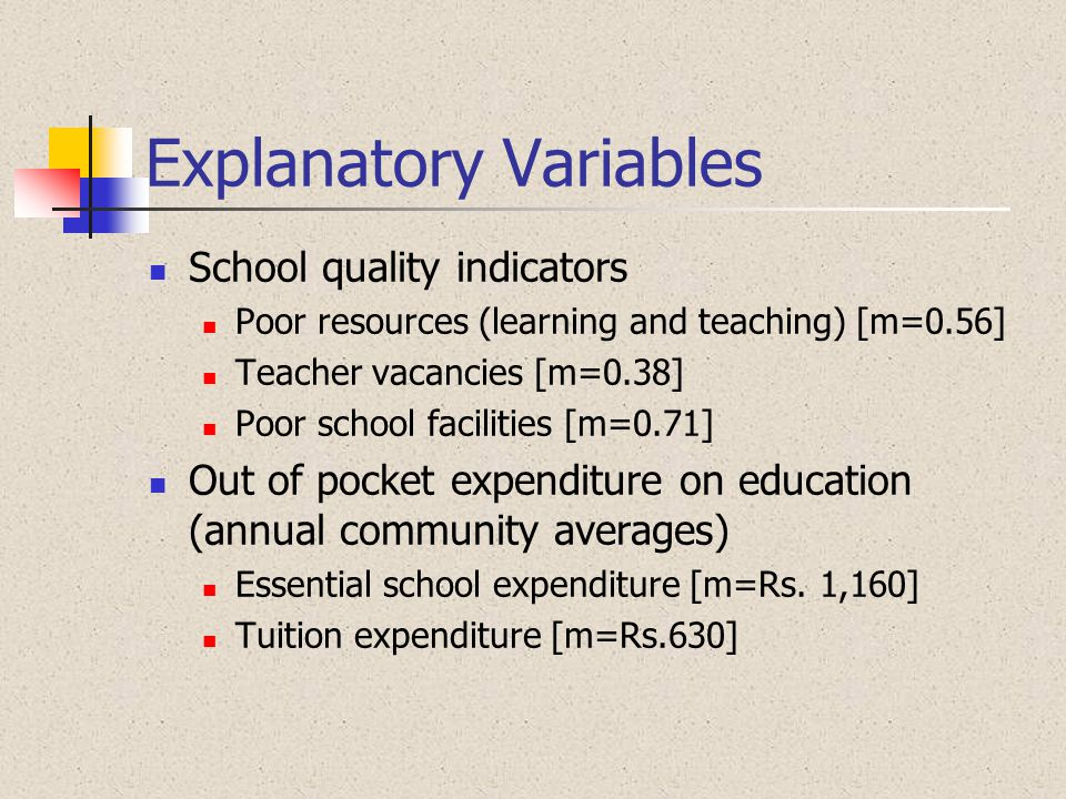 Explanatory Variables School quality indicators Poor resources (learning and teaching) [m=0.56] Teacher vacancies [m=0.38] Poor school facilities [m=0