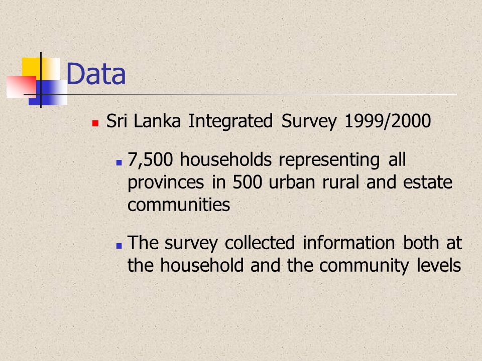 Data Sri Lanka Integrated Survey 1999/2000 7,500 households representing all provinces in 500 urban rural and estate communities The survey collected