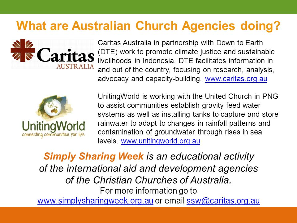 What are Australian Church Agencies doing.