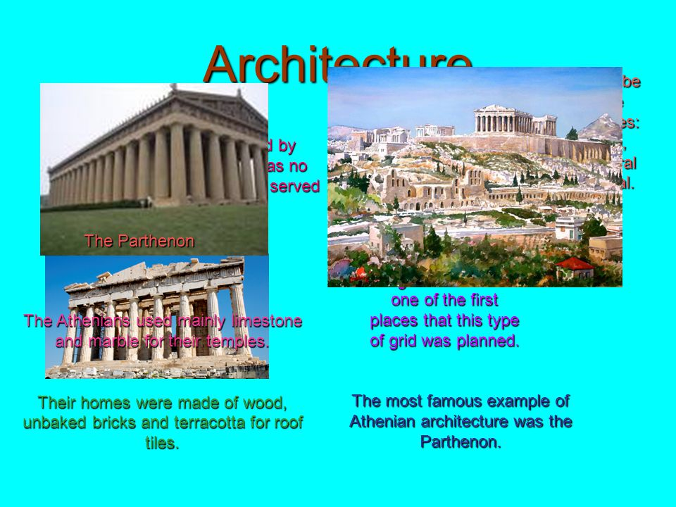Architecture Greek life was dominated by religion so it should come as no surprise that most buildings served religious purposes.