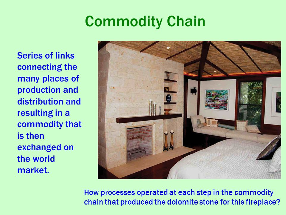 Commodity Chain How processes operated at each step in the commodity chain that produced the dolomite stone for this fireplace.