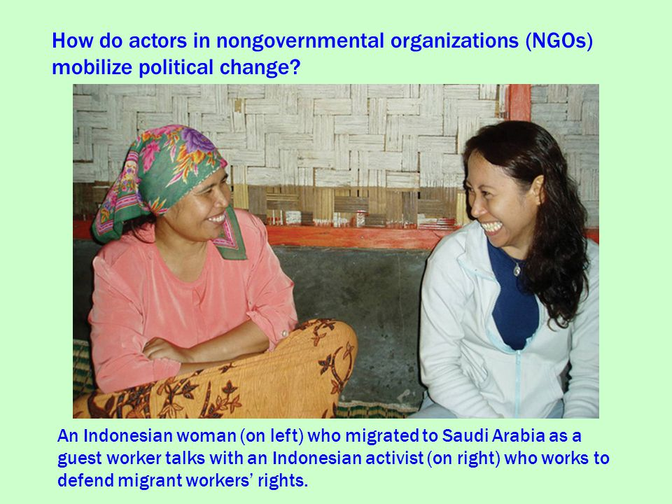 How do actors in nongovernmental organizations (NGOs) mobilize political change.