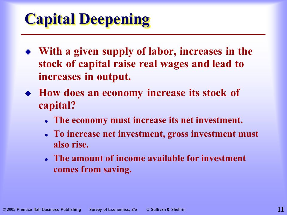 11 © 2005 Prentice Hall Business PublishingSurvey of Economics, 2/eO'Sullivan & Sheffrin Capital Deepening  With a given supply of labor, increases in the stock of capital raise real wages and lead to increases in output.