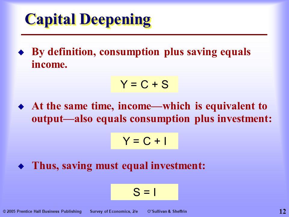 12 © 2005 Prentice Hall Business PublishingSurvey of Economics, 2/eO'Sullivan & Sheffrin Capital Deepening  By definition, consumption plus saving equals income.