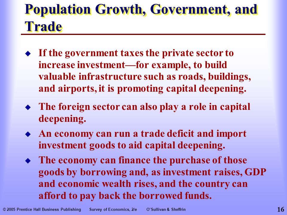 16 © 2005 Prentice Hall Business PublishingSurvey of Economics, 2/eO'Sullivan & Sheffrin Population Growth, Government, and Trade  The foreign sector can also play a role in capital deepening.