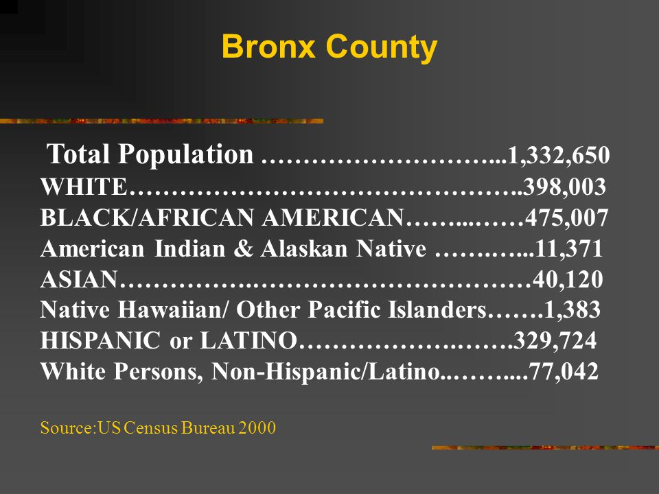 Total Population ………………………...1,332,650 WHITE………………………………………..398,003 BLACK/AFRICAN AMERICAN……...……475,007 American Indian & Alaskan Native …….…...11,371 ASIAN…………….……………………………40,120 Native Hawaiian/ Other Pacific Islanders…….1,383 HISPANIC or LATINO……………….…….329,724 White Persons, Non-Hispanic/Latino..……....77,042 Source:US Census Bureau 2000 Bronx County
