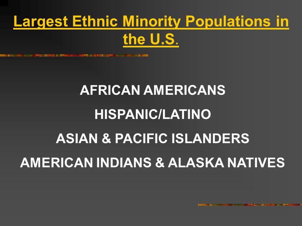 AFRICAN AMERICANS HISPANIC/LATINO ASIAN & PACIFIC ISLANDERS AMERICAN INDIANS & ALASKA NATIVES Largest Ethnic Minority Populations in the U.S.