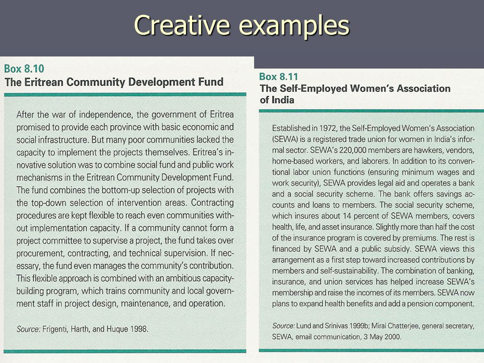 Creative examples