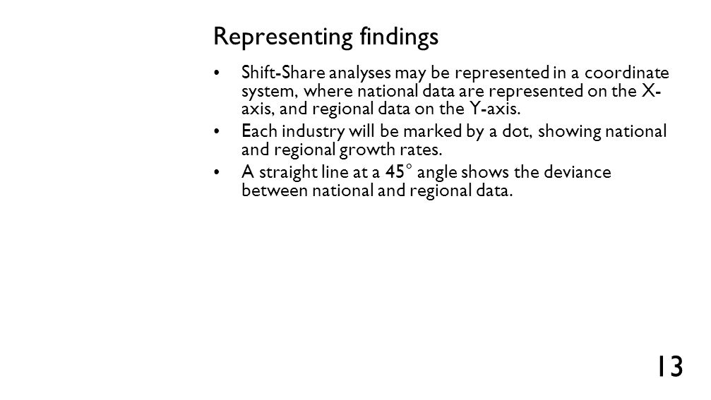 Representing findings Shift-Share analyses may be represented in a coordinate system, where national data are represented on the X- axis, and regional