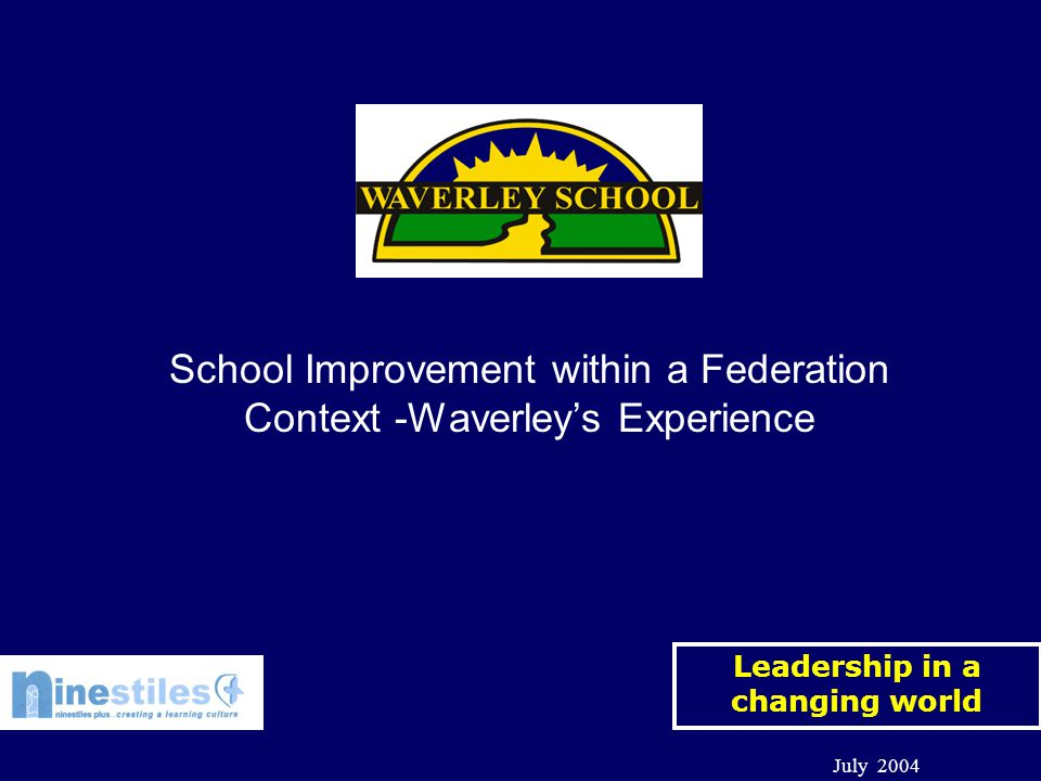 Leadership in a changing world July 2004 School Improvement within a Federation Context -Waverley's Experience