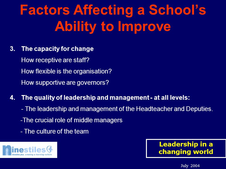 Leadership in a changing world July 2004 Factors Affecting a School's Ability to Improve 3.The capacity for change How receptive are staff.