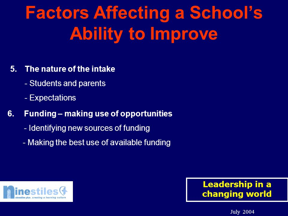 Leadership in a changing world July 2004 Factors Affecting a School's Ability to Improve 5.The nature of the intake - Students and parents - Expectations 6.