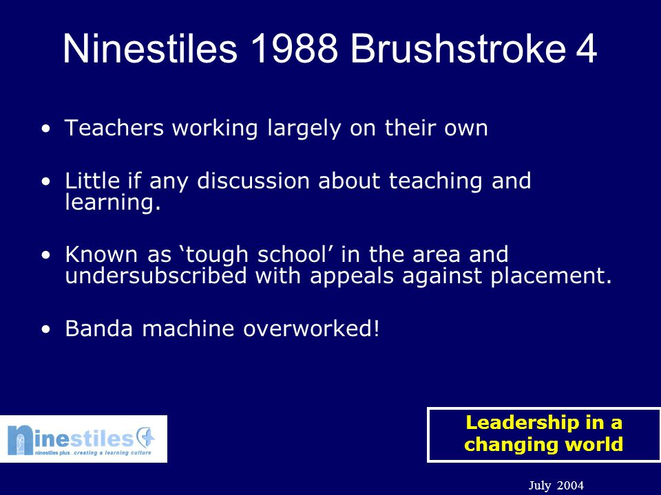 Leadership in a changing world July 2004 School Improvement at ISCCeb Federation with Ninestiles Officially started in September 2003 Began in earnest on 13 th October 2003.