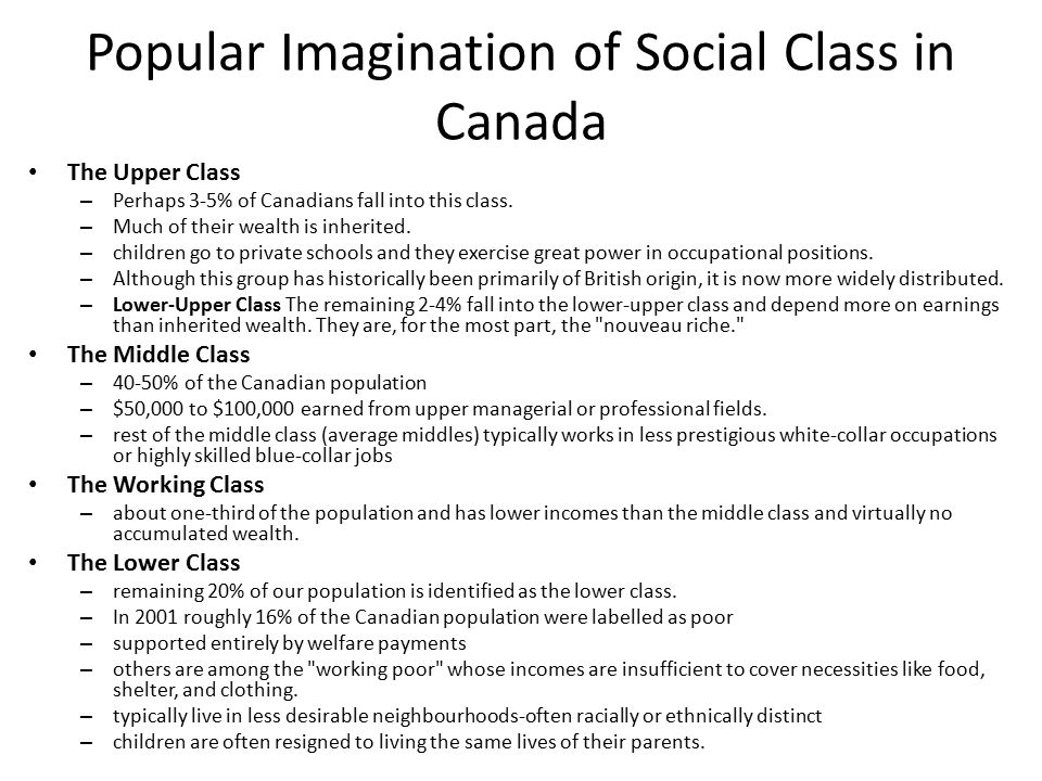 Popular Imagination of Social Class in Canada The Upper Class – Perhaps 3-5% of Canadians fall into this class.