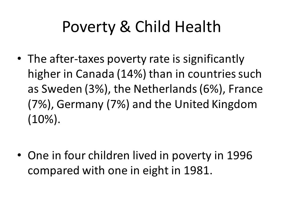 Poverty & Child Health The after-taxes poverty rate is significantly higher in Canada (14%) than in countries such as Sweden (3%), the Netherlands (6%), France (7%), Germany (7%) and the United Kingdom (10%).