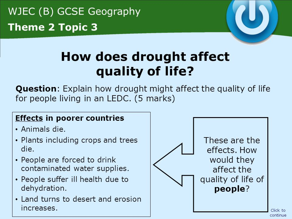 WJEC (B) GCSE Geography Theme 2 Topic 3 Question: Explain how drought might affect the quality of life for people living in an LEDC.
