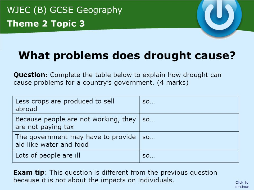 WJEC (B) GCSE Geography Theme 2 Topic 3 Fewer crops are produced to sell abroad Because people are not working, they are not paying tax The government may have to provide aid like water and food Lots of people are ill Click to continue Problems caused by drought so less income is made for the country from exports so the government receives less tax and has less money to spend on providing services so this is expensive and the government has less money to spend on providing or improving the country's infrastructure so pressure on hospitals and more money is spent by the government