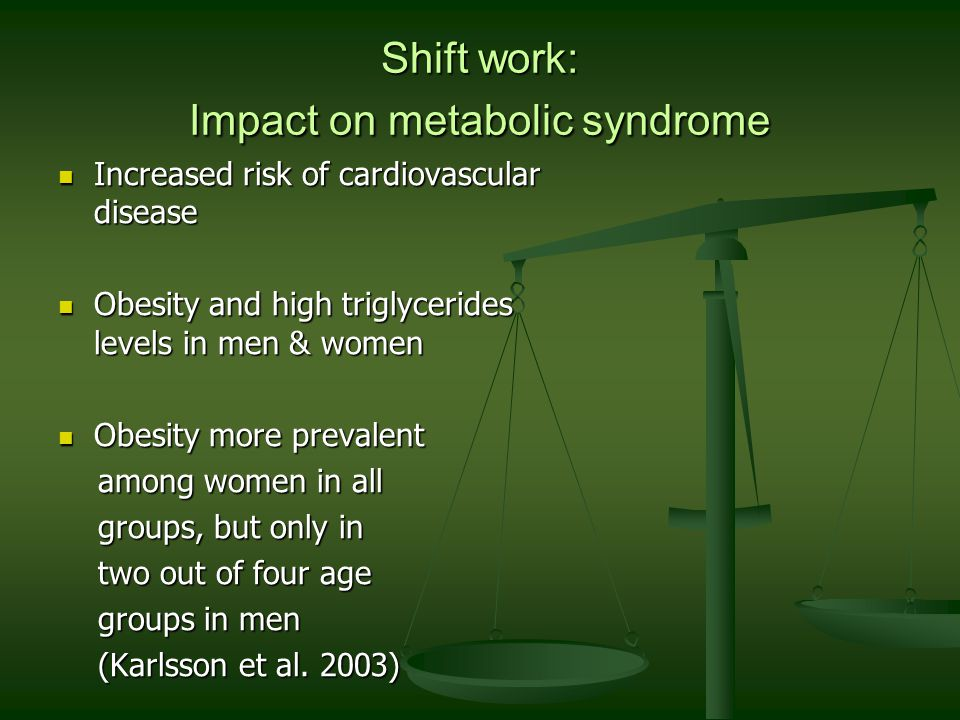Shift work: Impact on metabolic syndrome Increased risk of cardiovascular disease Increased risk of cardiovascular disease Obesity and high triglycerides levels in men & women Obesity and high triglycerides levels in men & women Obesity more prevalent Obesity more prevalent among women in all among women in all groups, but only in groups, but only in two out of four age two out of four age groups in men groups in men (Karlsson et al.