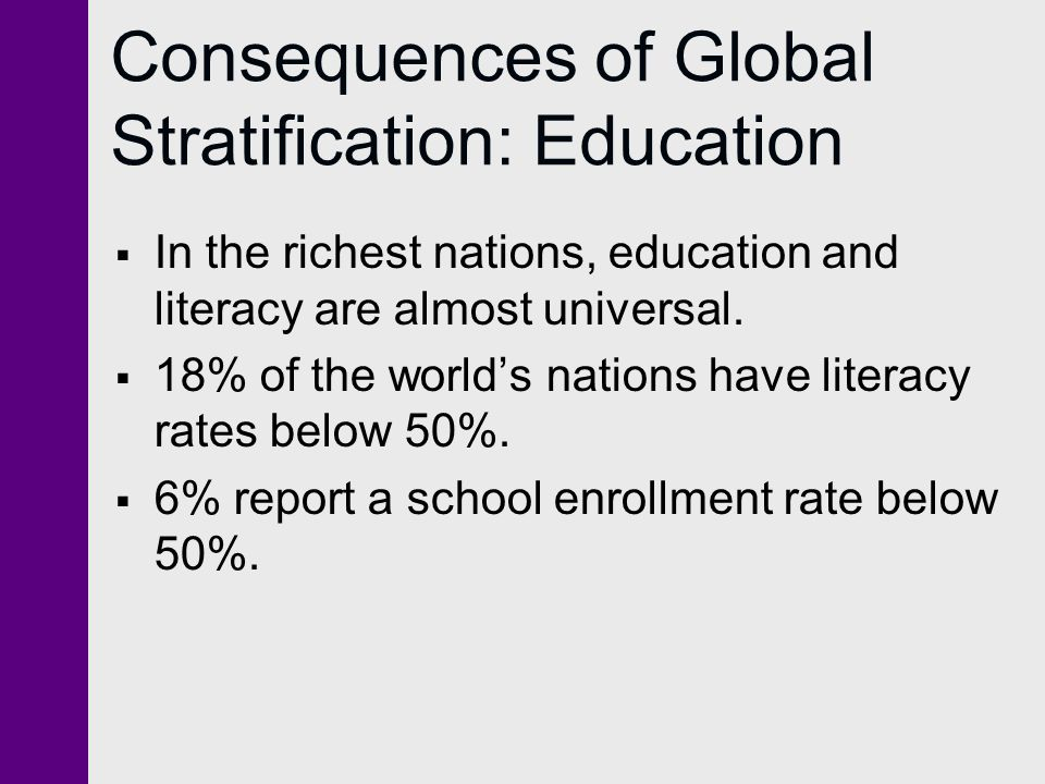 Consequences of Global Stratification: Education  In the richest nations, education and literacy are almost universal.