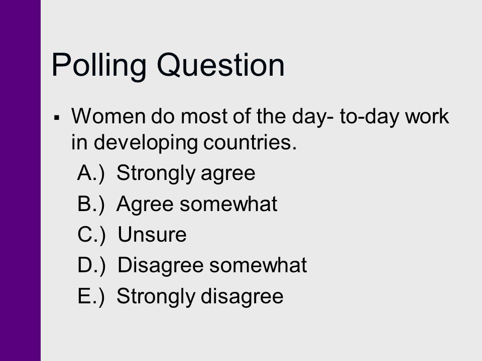 Polling Question  Women do most of the day- to-day work in developing countries.